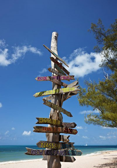 mileage signpost on key west florida beach